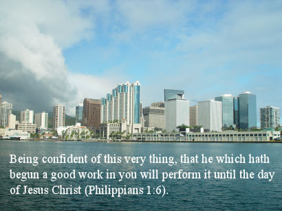 Philippians 1 verse 6, Honolulu Harbor