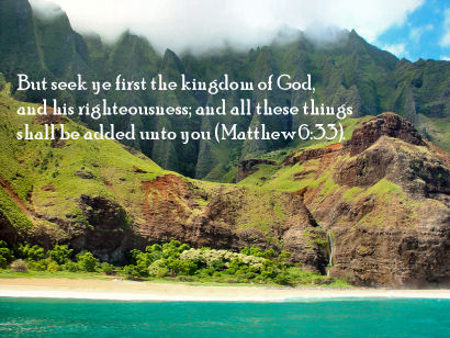 Matthew 6:33 with Kalalau Kai, Napali, Kauai, Hawaii